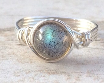 Labradorite Ring Sterling Silver Filled Wire Wrapped Ring Custom Sized Ring