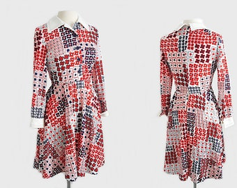 Vintage 70s geometric print dress/ red white and blue abstract print dress/ psychedelic dress by Pedestal Originals/ 4th of July dress