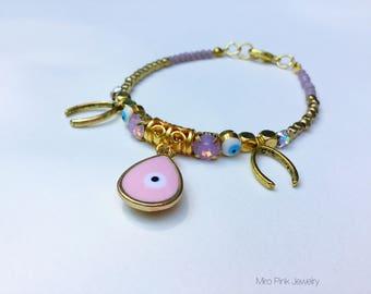 Pink bracelet evil eye gold beads,charm evil eye bracelet, charm bracelt, pink bracelet, rhinestone bracelet