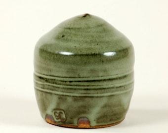Gray celadon potter's salt shaker
