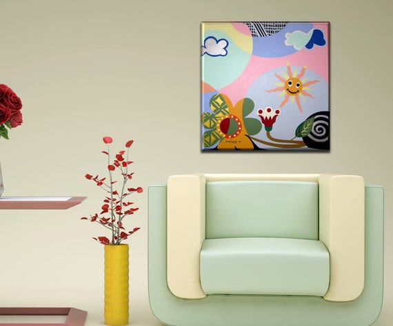 Abstract Nature Painting, Abstract Nature Wall Art, Acrylic Abstract Flower Painting, Smiley Face Decor Design, Geometric Landscape Art