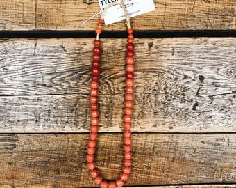 African Made Bead Necklace- Coral