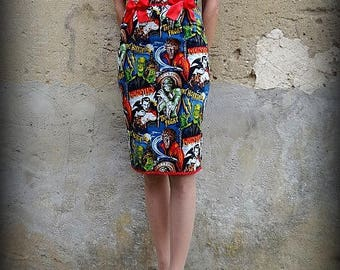 Pencil skirt high waist horror zombie monster frankenstein leopard rockabilly rétro pin up psychobilly tattoo punk pois