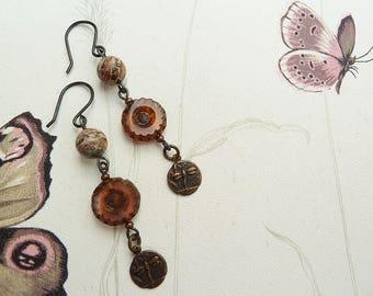 Jewellery, Earrings, Dangle Drop Earrings, Dragonfly Charm Earrings, Jasper Beads, Flower Czech Beads, Wire Wrapped Earrings, Rust Earrings