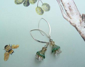 Jewellery, Earrings, Dangle & Drop, Bridal Earrings, Sterling Earrings, Layered Beaded Earrings, Green Earrings, Green and Crystal Earrings