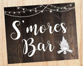 S'mores sign. wedding smores rustic sign. PRINTABLE  digital instant download. smores favor. smores bar sign. s'mores table sign.