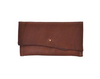 Leather mini wallet, Copper Leather Change Purse, Leather Pouch, Foil Monogram