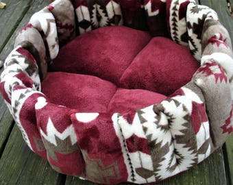 cat bed dog bed pet bed round bed donut bed burgundy