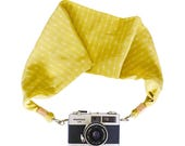 Arrow Silk Scarf Camera Strap – tribal arrow pattern, travel accessories, DSLR, gifts for photographers, yellow-green colour