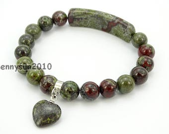 8mm Natural Dragon Blood Stone Gemstone Heart Bar Round Beads Stretchy Bracelet Healing Reiki Chakra Jewelry Design and Crafts