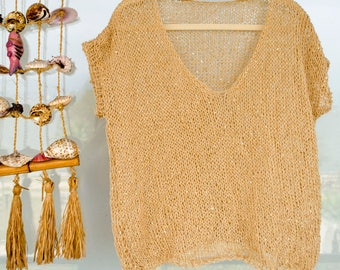 Short Sleeve Blouse, Gold Glimmer Jersey, Sequined Knit Top, Gift for Women, Unique Summer Gift, Sleeveless Sweater