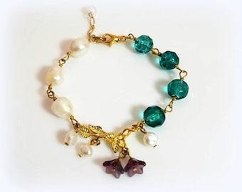 teal crystal white freshwater pearl bracelet purple flower bracelet gold leaf leaves branch nature bracelet unique beaded chain jewelry
