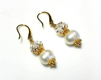 white freshwater pearl clear crystal earrings hypoallergenic earrings nickel free earrings sparkling dangle drop beaded gold jewelry