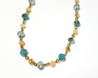 Peach Blue Green Crystal Necklace Unique Beaded Chain Jewelry Unique Sparkling Gold Necklace Gifts for Her Necklaces for Women