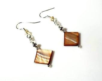 diamond shaped copper mother-of-pearl earrings hypoallergenic earrings nickel free earrings iridescent shell jewelry beaded dangle jewelry