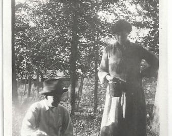 Old Photo Woman and Man Cooking Outside in Woods 1920s Photograph Snapshot vintage