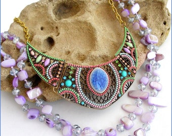 Multicolor bib necklace / long Mauve/purple - stone, mother of Pearl, ceramic