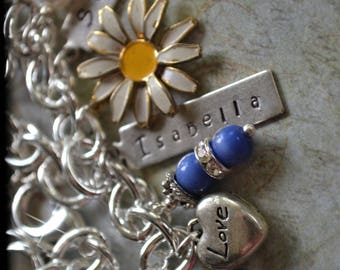 Charm Bracelet, Charms, Custom Charms, Charm Necklace, Daisy, Crayons, Yellow, Yellow Flowers, Sunflower, Snoopy, Engraved, Stamped, Family