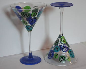 Hand Painted Martini Glasses in Blue, Green, and Silver