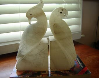 Vintage Italian marble alabaster bookends parrots chippy shabby marble decor retro chic shabby chic decor