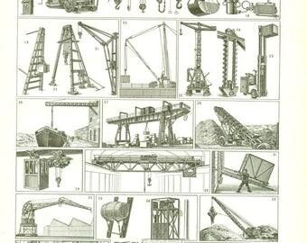1948 Poster de grues vintage Illustration de levage Engins de levage Cadeau pour ingénieur Cadeau pour grutier Cadeau pour ouvrier