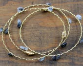 Recycled Guitar String, Gemstone Bangles 3pc set- Tourmalated Quartz- Support New Orleans Musicians