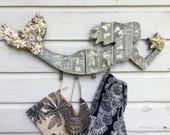 Mermaid Hat Rack/Beach House Decor/Mermaid Wall Decor/Coastal Living/Boho Chic Beach Decor/Mermaid Life
