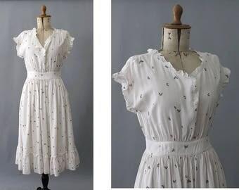 Antonella 1980s Butterfly print Dress small / 80s summer print dress