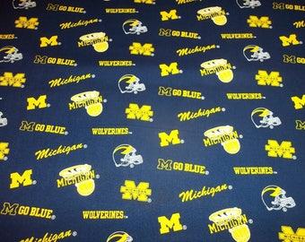 "UNIVERSITY of MICHIGAN "" WOLVERINES "" All Sport  style - 1 Yard  Piece - 100% Cotton New Design"