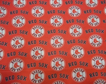 BOSTON RED SOX - Mlb  Baseball  Fabric 1 Remnant Piece  Red New All Sport  Designs  100% Cotton  New Design