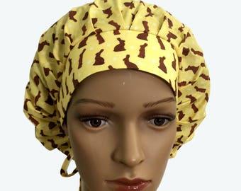 Bouffant Scrub Hat with ties - Chocolate Bunnies on Yellow Bouffant scrub hat-Ponytail Scrub hat - Custom Scrub Hat - Personalized Scrub hat