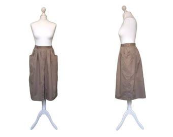 Vintage 90's Cargo Skirt - 1990's Vintage Skirt - Brown Cotton Midi Skirt - Everyday Casual Skirt