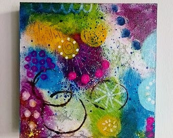 original, abstract, colorful painting on canvas, happiness, modern art, contemporary art
