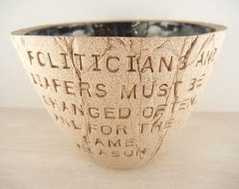 Mark Twain - Politicians and Diapers Quote - Pottery Bowl /  Quote Pottery / Political Art / Famous Quote Art / Literary Art