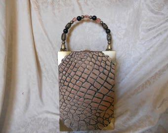 Cigarbox Purse, Embossed Alligator Print Leather, Tina Marie Purse Purse, Vintage.