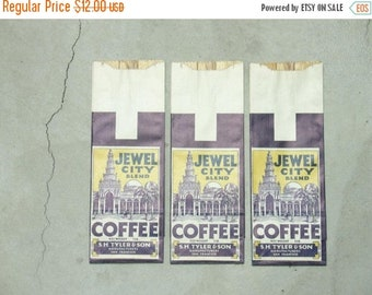 "ON SALE group of 3 vintage coffee bags ""jewel city"", san francisco, california"