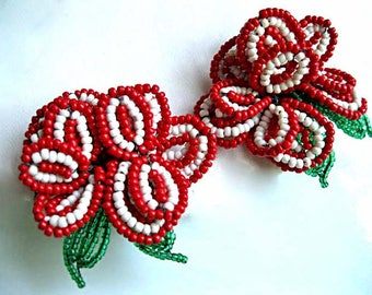 Bead Glass Flower Blossom Vintage Earrings, Red White Petals Green Leaves, Hair Accent, Dress Clips, Shoe Hair Clips