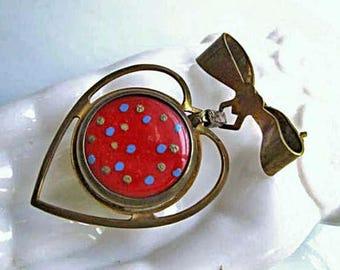 Vintage Coin Holder Brooch, Brass Ribbon and Heart Drop, Red Enamel Polka Dots, Vintage 1940s Token Dispenser Brooch