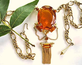 Topaz Glass Tassle Necklace, Huge Faceted Glass Oval Pendant, Baguette Rhinestones, Swag Chains, Autumn Fall Tawny Amber Colors