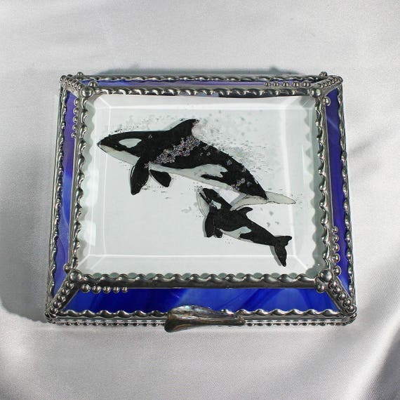 Etched, Hand Painted, Orca, Whale, Ocean, Sea, Sea Life, Jewelry Box, Stained Glass Box