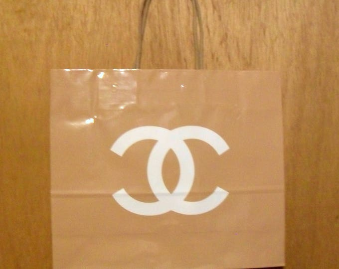 Vintage 1990s Chanel Perfume Promotional Glossy Beige Paper Shopping Bag Designer Fragrance Collectible