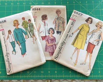 Lot of Vintage Maternity Sewing Patterns - Complete and Uncut with Factory Folds - Simplcity 4858, 4827 and 3344 -  Laurie Petrie Style