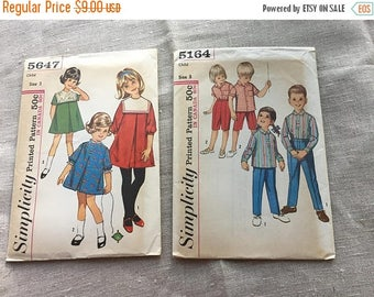 Vintage Pair of 1960s Children's Patterns - Size 3 - Simplicity 5164 and 5647 - Uncut with Factory Folds