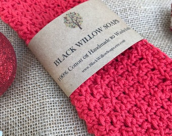 """Red Valentine's Day Washcloths, 9x9"""", Cotton, Crochet, Crochet Washcloth, Cotton Washcloth, Dish Cloth, Gift for Mom, Wife Gift, Girlfriend"""
