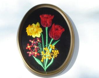 Vintage Bright Spring Flowers Picture - Black Velvet Embroidered -  Ecstasy Giftware Decor  -1960s
