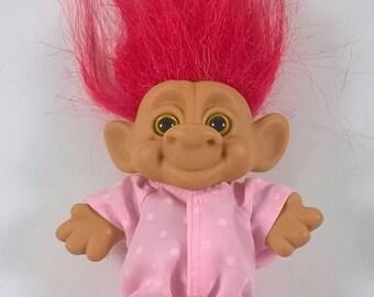 Vintage Forest Troll Doll - Fuschia Pink Hair in Pink Onesie - 1990s