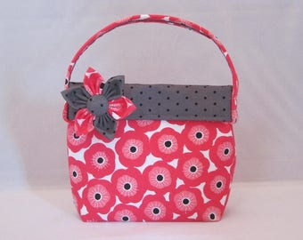 Little Girls' Purse Made With Bright Pink Floral Fabric And Detachable Fabric Flower Pin
