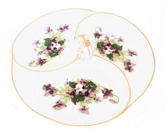 Vintage Divided Relish Dish, Saji Japan fine china, purple floral sectioned vegetable tray