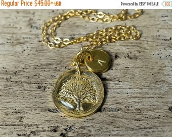 40% OFF Tree of Life Necklace, Family Tree Necklace, Initial Necklace, Personalized Necklace, Tree of Life charm, Charm Necklace, Simple Nec