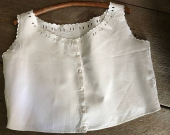 French White Linen Camisole, Monogrammed, Floral Butterfly Embroidery and Lace Work, Bodice, Project Piece, Crop Top, French Farmhouse